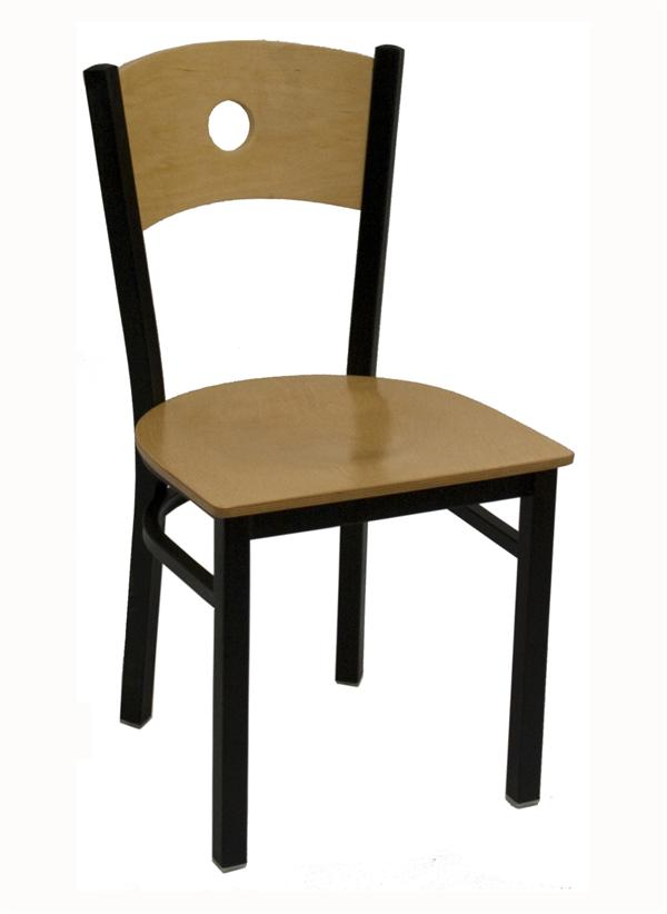 Wood Back With Circle Cutout Metal Chair
