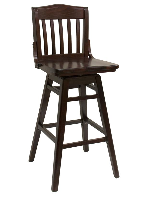 Slat Back Schoolhouse Beech Wood Swivel Barstool
